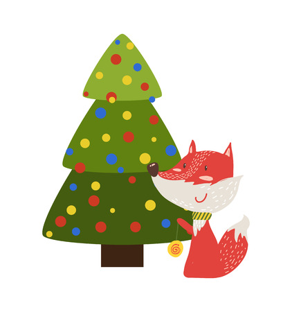 Greeting card with cartoon fox with yo-yo toy sitting under decorated by color balls Christmas tree vector illustration postcard isolated on white Illustration