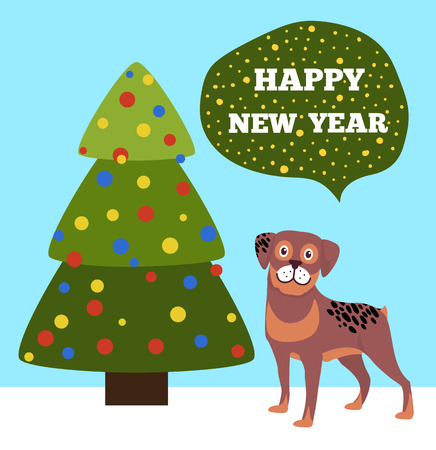 Happy New Year placard with tree made triangles decorated by color balls, celebration symbol of Chinese horoscope cute dog vector illustration poster