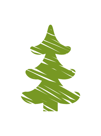 Christmas tree with white lines that symbolize snow and gusts of wind, minimalist representation of evergreen pine isolated on vector illustration Stok Fotoğraf - 92121469