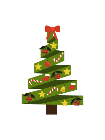 Christmas tree made of ribbons, decoration elements placed on it, stars and candies, balls and mistletoe, sock isolated on vector illustration