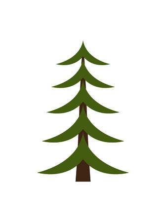 Image of Christmas tree represented in schematic way, minimalistic Xmas symbolic object for wintertime holidays isolated on vector illustration