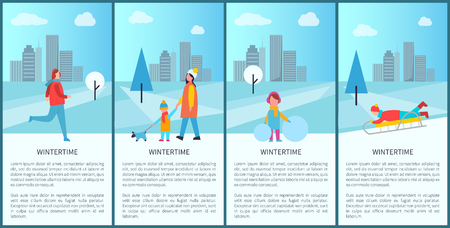 Wintertime fun set of posters with happy families and sportsmen in snowy city park.
