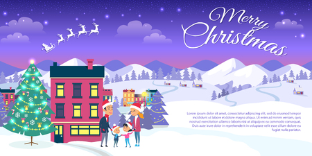 Happy family is outside near decorated Christmas tree. Merry Christmas on city and blue sky background. Vector illustration of emblem of flying white Santa in sleigh harnessed by four strong reindeers Illustration
