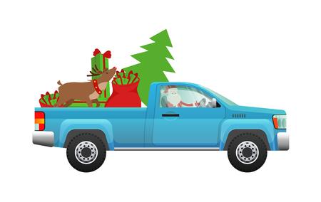 Papai Noel pressa na festa. Santa que conduz o recolhimento carregado com a árvore de Natal, o saco de presentes e a ilustração lisa do vetor da rena isolada no fundo branco. Comemorando o conceito de férias de inverno
