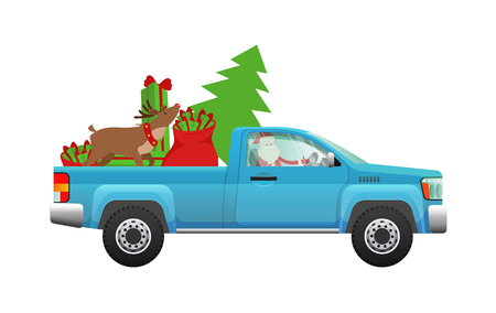 Santa Claus hurry on party. Santa driving pickup loaded with Christmas tree, sack of gifts and reindeer flat vector illustration isolated on white background. Celebrating winter holidays concept