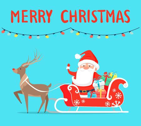 Merry Christmas Santa with Reindeer on Sledge Stock fotó - 92129759