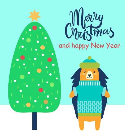 메리 크리스마스와 행복 한 새 해 축제 카드 고슴도치에서 축 하합니다. 장식 된 크리스마스 트리와 친절 동물 벡터 일러스트 레이 션