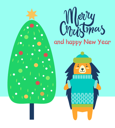Merry Christmas and happy New Year festive card with congratulation from porcupine. Vector illustration with decorated xmas tree and friendly animal