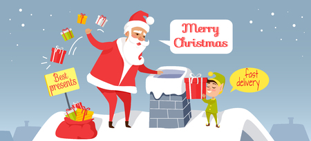 Santa Christmas and fast delivery of best presents. Claus throwing presents in chimney. Cartoon Santa and dwarf standing on roof of house, gnome gives gift box. Holiday vector web banner. 版權商用圖片 - 92123523
