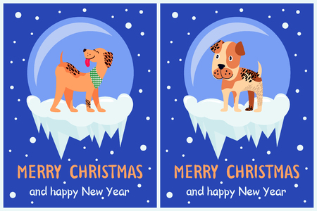 Merry Christmas and happy New Year doggy congrats set of posters with 2018 year symbol due Chinese calendar. Vector illustration with cute terriers