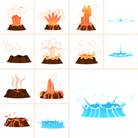 Stages of volcanic eruption icon.