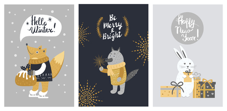 Hello Winter and Be Merry Banner with Animals