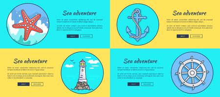Sea adventure posters. Ilustrace