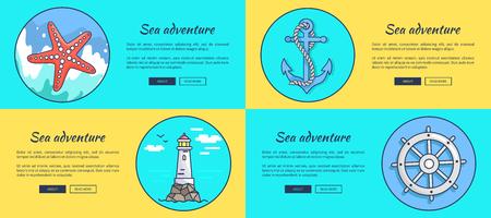 Sea adventure posters. Illustration