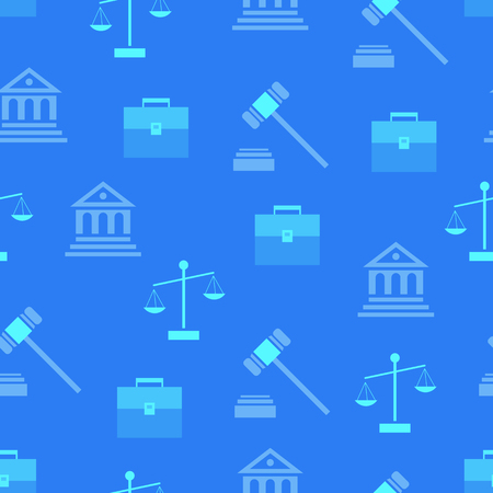 ハンマー、判定ビル、ブリーフケース、青い背景にシルエットベクトルイラストをスケールする法律記号を持つシームレスなパターン