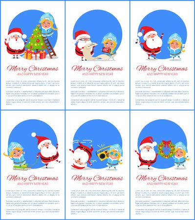 Joyeux Noël et bonne année, Santa et Snow Maiden, arbre de décoration, chanter des chants de notes, écouter de la musique vector illustration Banque d'images - 92124906