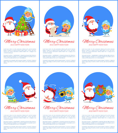 Merry Christmas and happy New Year, Santa and Snow Maiden decorating tree, singing carols from notes, listening to music vector illustration