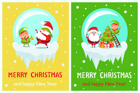 Postcard Merry Christmas and Happy New Year Santa and Elf decorating tree from ladder, play with covered eyes, in ball crystal vector illustration posters