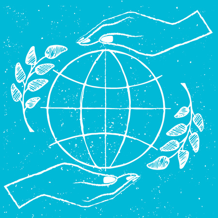 International peace day picture, demonstrating two hands protecting a sign of freedom vector illustration isolated on blue background