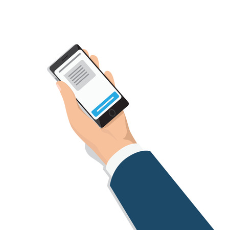 Mens hand in business suit with smartphone in palm isometric projection vector isolated on white. Phone with message on screen in male hand 3d illustration for communication technologies concept Illustration
