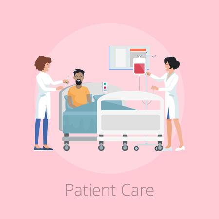 La cura del paziente fornita dagli infermieri che indossano l'uniforme, l'uomo e la donna sorridenti con la bottiglia per lui, icone sull'illustrazione di vettore isolata sul rosa Archivio Fotografico - 92125261