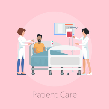 Patient care provided by nurses wearing uniform, smiling man and woman with drop-bottle for him, icons on vector illustration isolated on pink