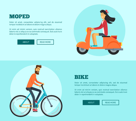 Moped versus bike comparing two types of transport. Vector illustration with man riding bicycle and woman on scooter with room for text and buttons