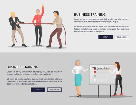 Business training web posters with competition of two men in process of training, people pulling rope, women discussing issues near chart on vector Illustration