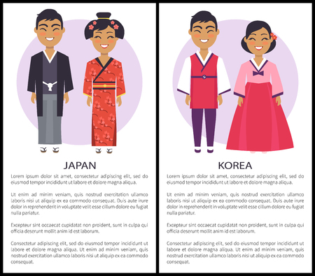Japan and korea nationalities, set of posters with two nations and informational text below on vector illustration isolated on white with text Vectores