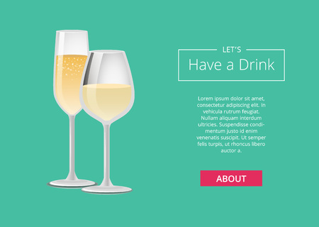 Lets have a drink champagne advertisement web poster with closeup of wine glass, alcohol drink with bubbles vector illustration isolated on green Çizim