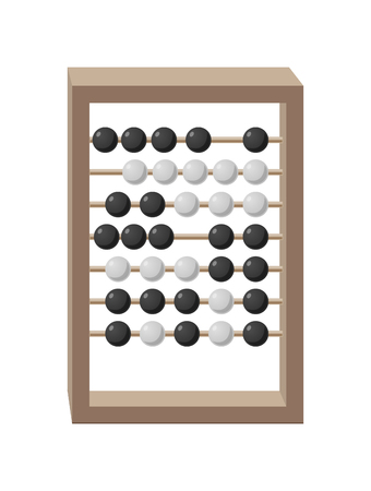Abacus with grey wooden frame and movable black-and-white beads isolated vector illustration on white. Cartoon style calculating tool Illustration