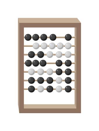 Telraam met grijs houten frame en beweegbare zwart-witte parels geïsoleerde vectorillustratie op wit. Cartoon stijl rekenhulpmiddel Stock Illustratie
