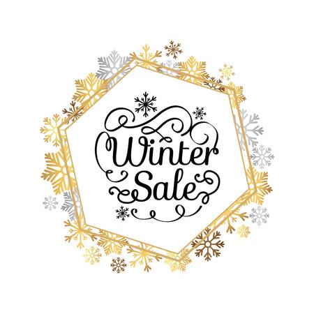 은색과 금색 눈송이의 만든 장식 프레임에서 겨울 판매 포스터, 크리스마스 테두리에 눈덩이 선물 및 화이트에 고립 된 선물 벡터 일러스트