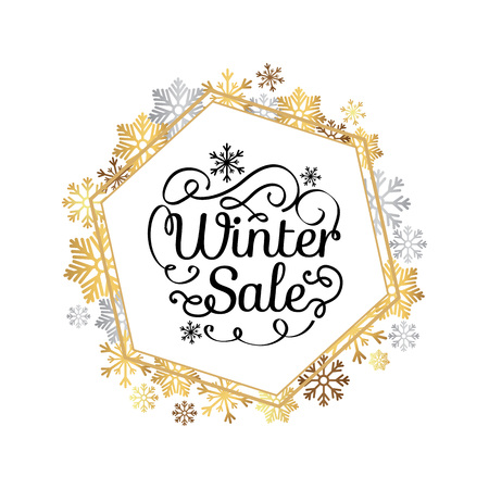 Winter sale poster in decorative frame made of silver and gold snowflakes, snowballs in xmas border, presents and gifts isolated on white vector Illustration