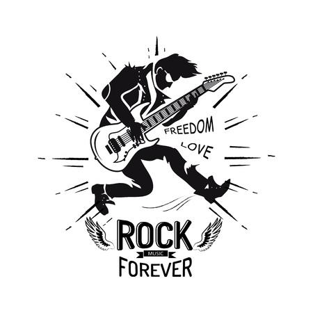 Rock für immer Freiheit und Liebe, Gitarrist spielt E-Gitarre, Ikone verziert mit Linien und Flügeln Vektor-Illustration isoliert auf Weiß