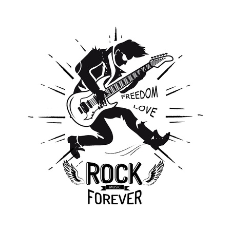 Rock forever freedom and love, guitarist playing electric guitar, icon decorated with lines and wings vector illustration isolated on white