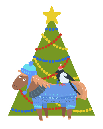 Donkey in warm winter cloth and bullfinch in santa s hat sitting on donkey s back, animal standing near decorated Christmas tree vector postcard