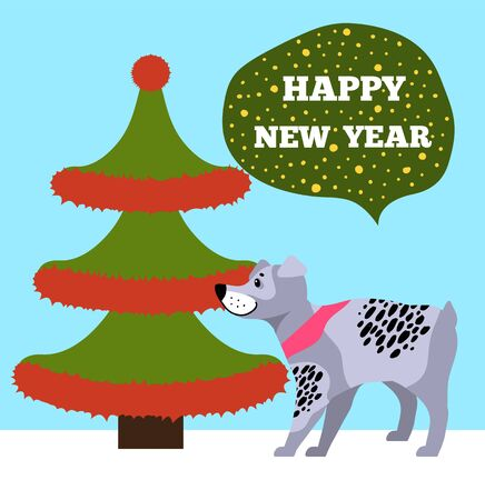 Happy New Years placard with tree made up of red tinsel placed on its borders, celebration symbol of Chinese horoscope cute dog vector illustration Ilustração