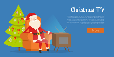 Christmas TV calm rest concept vector illustration. Sitting Santa Claus in orange big armchair near TV set web banner. Decorated tree behind him. Cartoon personage watches television at New Year Eve.