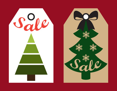 Sale New Year labels set with holes in them, images of Christmas trees decorated with snowflakes and bow on top, isolated on vector illustration