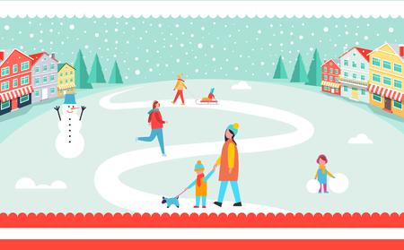 Winter park icon. Illustration