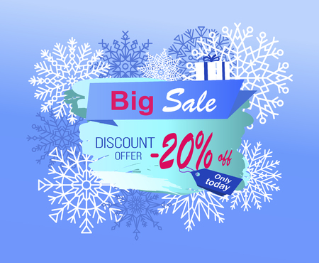 Big sale discount offer only today -20 off promo advertisement banner on background of snowflakes and gift box with blue ribbon vector illustration