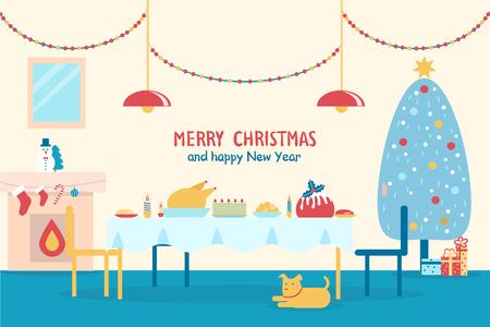 Feliz Navidad y feliz año nuevo, banner con mesa servida, chimenea y árbol decorado tradicional, perro y presenta en la ilustración vectorial Foto de archivo - 92128573