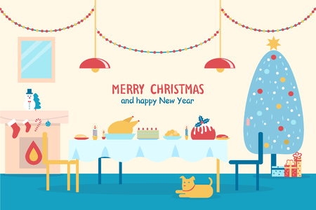Merry Christmas and happy New Year, banner with served table, fireplace and traditional decorated tree, dog and presents on vector illustration