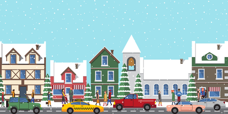 City at wintertime poster, buildings and homes, people that are busy and hurry somewhere, taxi and cars driving along road on vector illustration Illustration