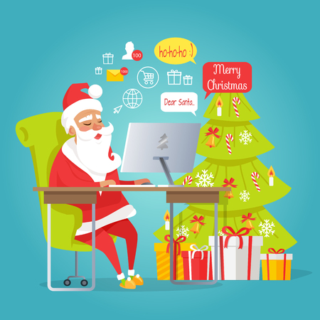 Santa Claus reading letters icon.