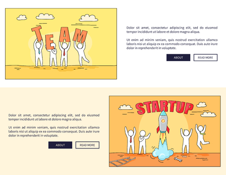 Team and Startup Web Pages Vector Illustration