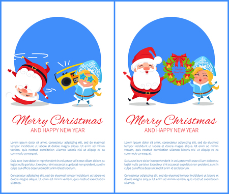 Merry Christmas and Happy New Year posters with Santa and Snow Maiden dance head over heels, hanging decorative wreath vector cartoon characters
