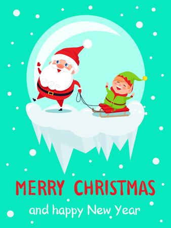 Merry Christmas and Happy New Year Santa and Elf Illustration