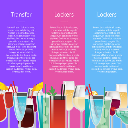 Transfer and lockers hotel services advert with alcoholic cocktails in festive glasses. Vector illustration with drinks on colorful background Ilustração